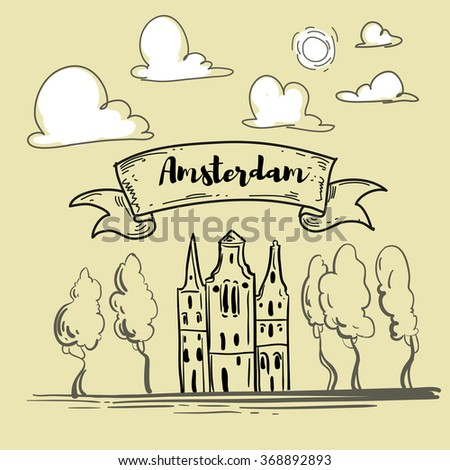 Vintage freehand drawing of Amsterdam with typical historical houses. Vector postcard template, Holland, Netherlands, hand lettering - stock vector