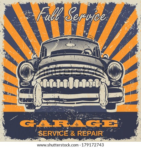 Vintage garage retro poster - stock vector
