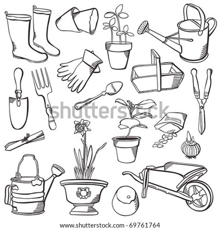 Vintage garden set - stock vector