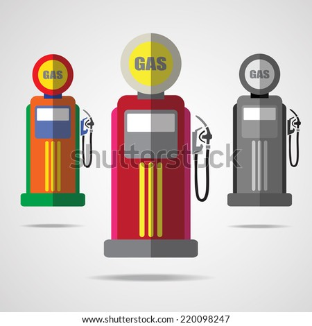 Vintage gas station. Flat design.Vector EPS 10. - stock vector