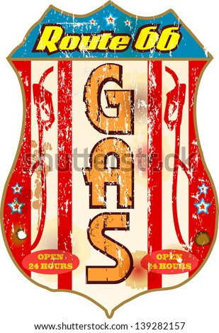 vintage gas station sign on the route 66 - stock vector