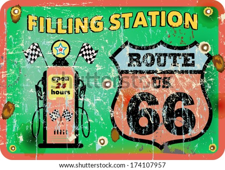 vintage gas station sign,route 66, vector illustration  - stock vector