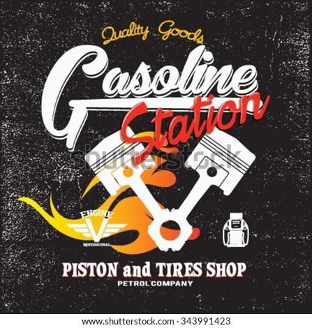 Vintage Gasoline,authentic gas pump vector illustration print. Vintage gasoline retro signs and labels. Gas station. - stock vector