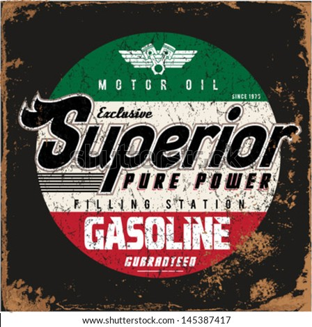 Vintage Gasoline & Motor oil | T-shirt Printing | - stock vector