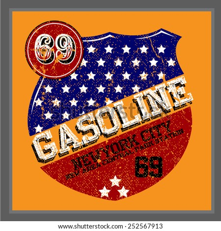 Vintage Gasoline & Motor oil | T-shirt Printing - stock vector