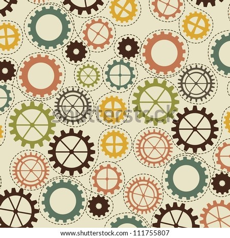 vintage gears over beige background. vector illustration - stock vector