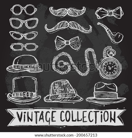 Vintage gentleman set of hats glasses mustaches and bow tie decorative elements isolated vector illustration - stock vector