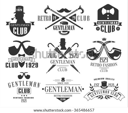 Vintage Gentlemen Club Emblems, Icons and Badges. Vector Illustration Set - stock vector