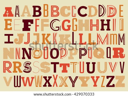 Vintage Geometric Alphabet Background Design - Retro Typographic Illustration - stock vector