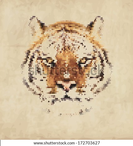 Vintage Geometric Tiger Design - stock vector