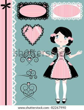 vintage girl with set of matching design elements - stock vector