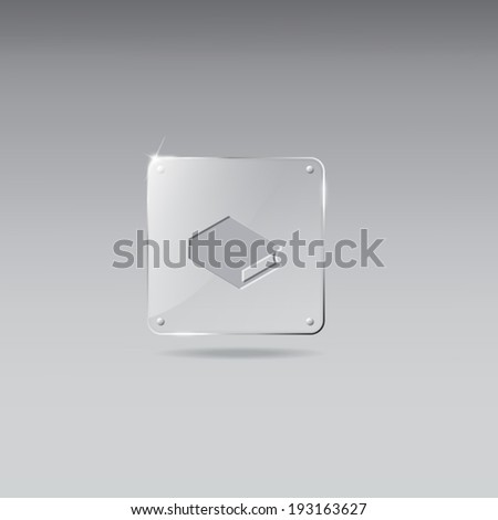 Vintage glass framework with closed book icon - stock vector