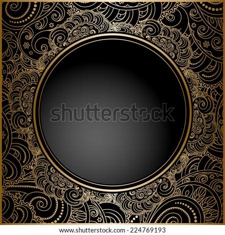 Vintage gold background, cover, ornamental vector frame - stock vector