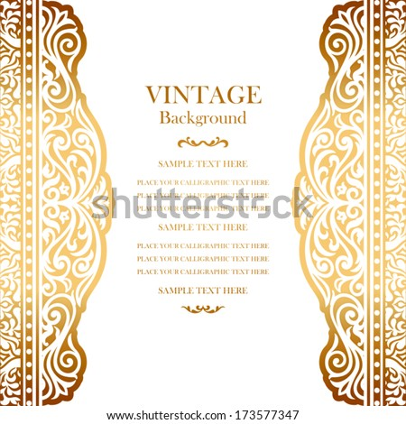 Vintage gold background design, elegant book cover, victorian style invitation card, beautiful greeting, floral ornamental frame, certificate template, label, royal ornament, layout for decoration - stock vector