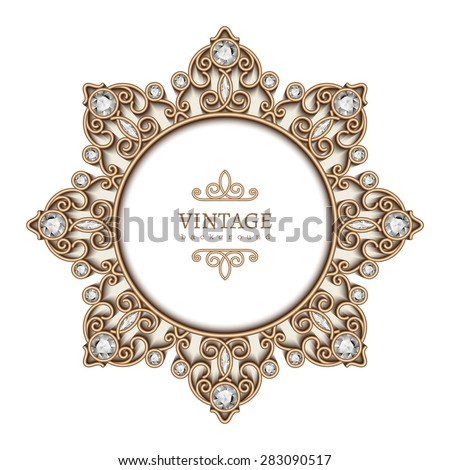 Vintage gold background, diamond vignette, circle jewelry frame template, vector eps10 - stock vector