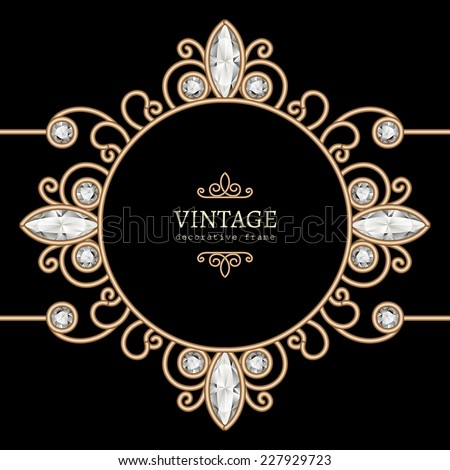 Vintage gold background, diamond vignette, vector jewelry circle frame, eps10 - stock vector