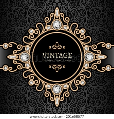 Vintage gold background, diamond vignette, vector jewelry frame, eps10 - stock vector