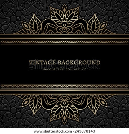 Vintage gold  background, divider, header, ornamental lacy vector frame - stock vector