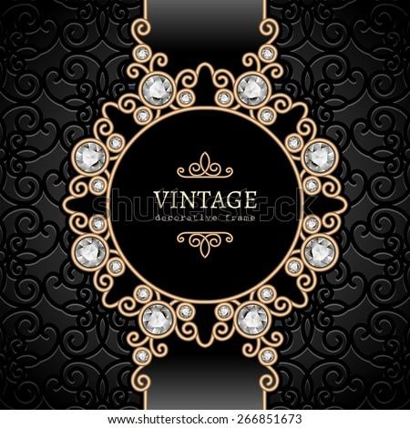 Vintage gold background, elegant diamond vignette, vector jewelry frame, eps10 - stock vector