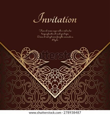 Vintage gold background, ornamental lace frame, vector eps10 - stock vector