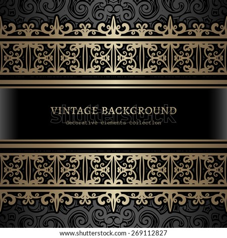 Vintage gold background, ornamental vector frame with seamless golden borders over pattern - stock vector