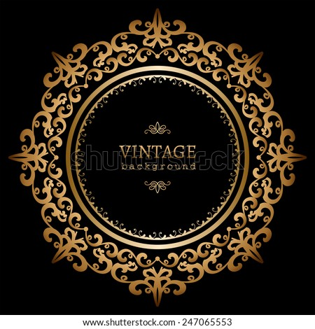 Vintage gold background, vector circle frame on black - stock vector