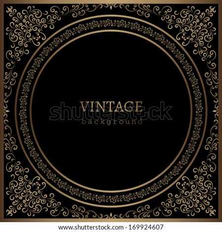 Vintage gold background, vector ornamental frame template on black - stock vector