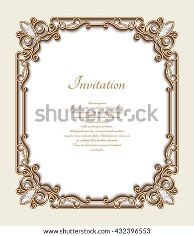 Vintage gold background, vector rectangle jewelry frame with ornamental border, greeting card or invitation template, eps10 - stock vector