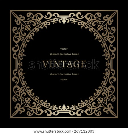 Vintage gold background, vector square frame template on black - stock vector