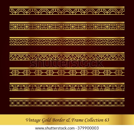 Vintage Gold Border Frame Vector Collection 63 - stock vector