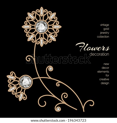 Vintage gold floral decoration, dandelion, vector jewelry flowers on black background, eps10 - stock vector