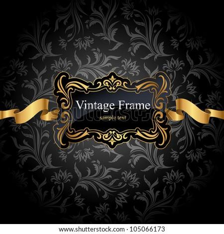 Vintage gold frame on black floral Seamless background. Vector illustration - stock vector