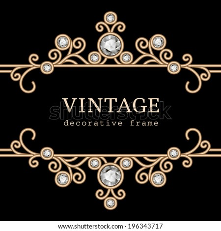 Vintage gold frame on black, vector jewelry background, eps10 - stock vector