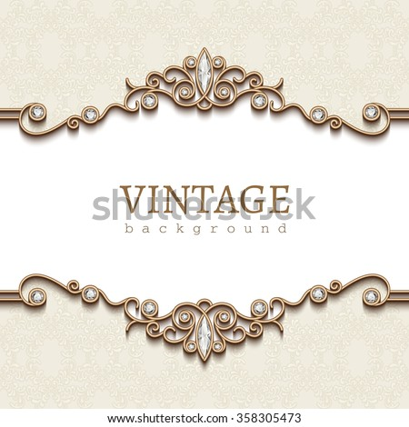 Vintage gold frame on white, divider element, elegant vector background with jewelry borders, eps10 - stock vector