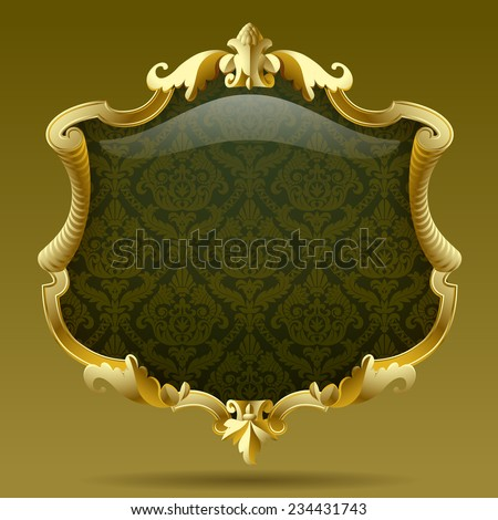 Vintage gold frame with olive baroque  ornament. Vector illustration - stock vector