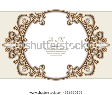 Vintage gold jewelry background, diamond vignette, vector circle ornament, elegant jewellery frame, eps10 - stock vector