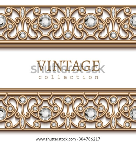 Vintage gold jewelry background, vector jewellery frame with seamless border ornament on white, eps10 - stock vector