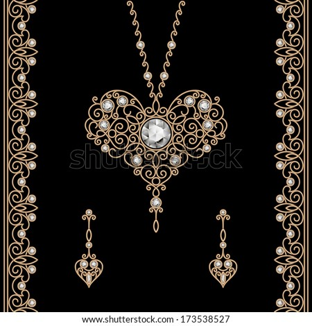 Vintage gold jewelry set - pendant with earrings in shape of heart and ornamental borders decorated with diamonds, vector jewellery on black, eps10 - stock vector