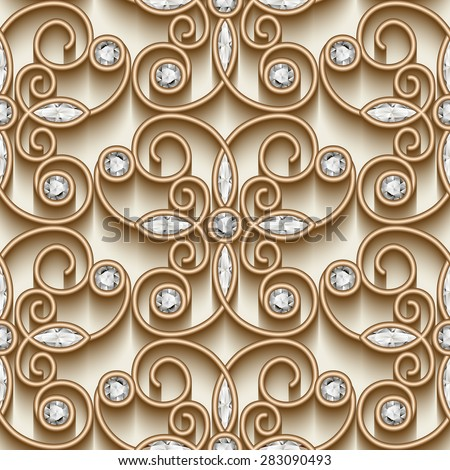 Vintage gold ornament, vector jewelry seamless pattern with diamonds, eps10 - stock vector