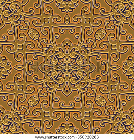 Vintage gold tile, abstract swirly ornament, vector seamless pattern - stock vector