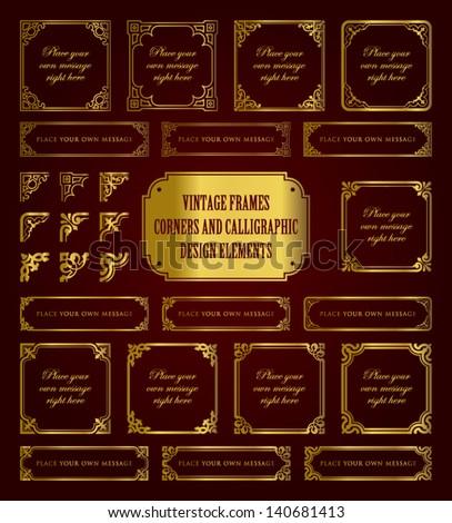 Vintage golden frames, corners and calligraphic design elements - stock vector
