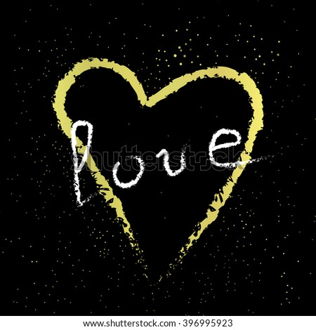 Vintage golden heart with handwritten love on the cosmic background. Vector illustration for your design - stock vector