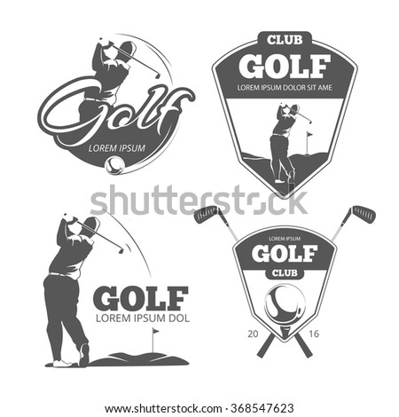 Vintage golf vector labels, badges and emblems. Sport sign icon, club game illustration - stock vector