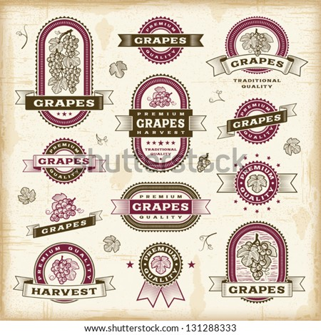 Vintage grapes labels set. Fully editable EPS10 vector. - stock vector
