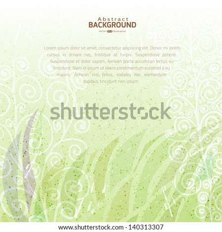 Vintage green abstract vector floral background on stained paper texture with space for your text - stock vector