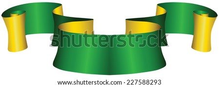 Vintage green and gold ribbon for decoration work. Vector illustration. - stock vector