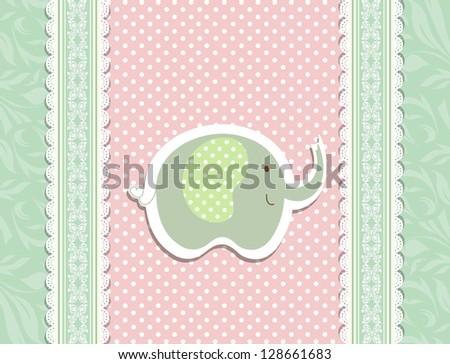 Vintage green doodle toy for pink frame wallpaper vector eps 10 - stock vector