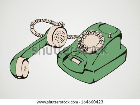 Vintage green telephone - stock vector