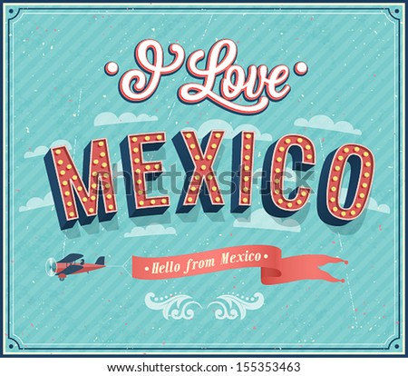 Vintage greeting card from Mexico - Mexico. Vector illustration. - stock vector