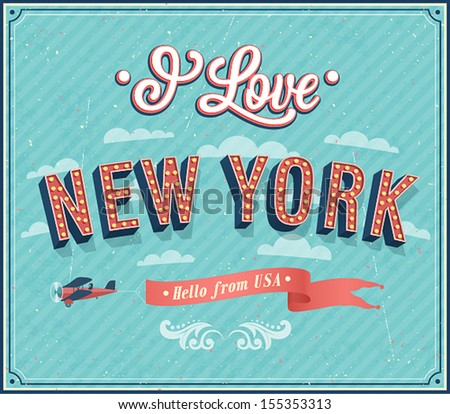Vintage greeting card from New York - USA. Vector illustration. - stock vector
